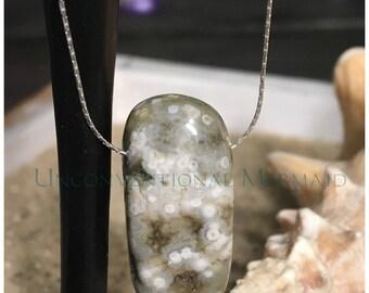 "16"" Sterling Silver Floating Ocean Jasper Bead Necklace"
