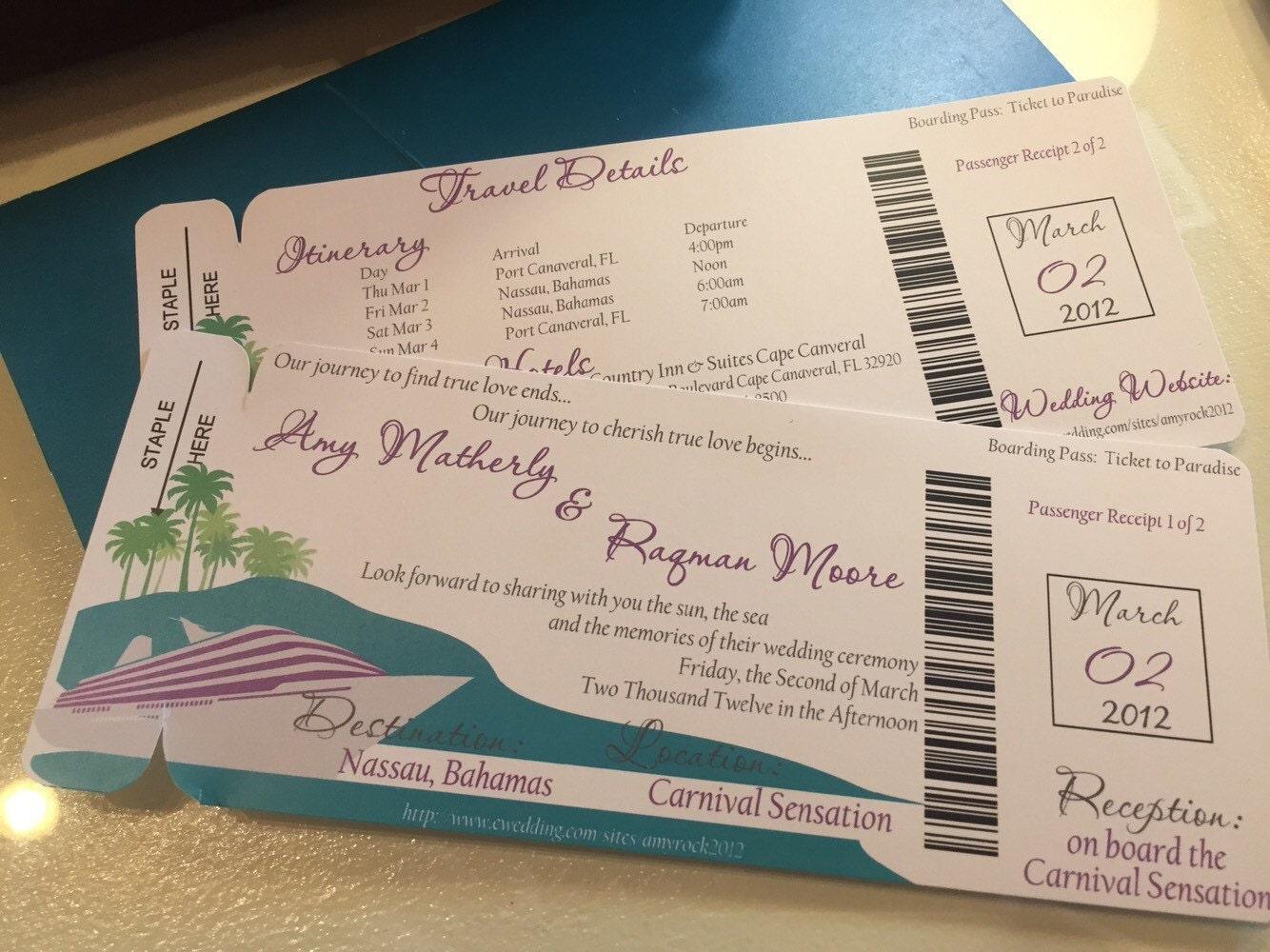 Kreuzfahrt-Hochzeitseinladung. Bordkarte Hochzeitseinladung