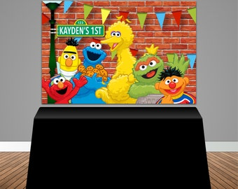 Sesame Street Themed Baby Shower 6x4 Candy Buffet Table Banner Backdrop, Design, Print and Ship!