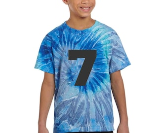 Tie Dye Shirt / Kids 7th birthday Number Shirts / birthday shirt / gifts for her / gift idea for him / custom design / birthday party attire