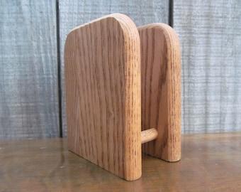 1970's Oak Wood Napkin Caddy