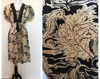 Vintage des années 80 hippocampe marin noir et Ivoire robe Midi