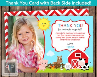 Farm Photo Thank You Card, Printable Farm Animals Thank You Card, Farm Theme Thank You Card, Printable Farm Photo Thank You Card, P16