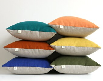 Colorblock Pillow Cover in NEW COLORS, Stone Grey & Natural Linen by JillianReneDecor - Modern Fall Home Decor - Jewel Tone Pillows - fw2015