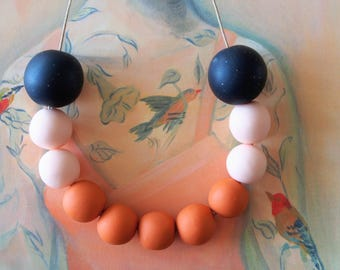 OOAK Handmade Polymer Clay Necklace - Chile Collection - Eleven Bead Black