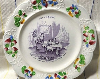 """Antique 1830s Child's Pearlware Staffordshire 8"""" Plate  W. S. CO Germany Proverb"""