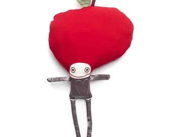 Rag doll Pépin - Handmade plush, Baby lovey