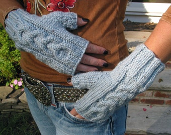 SKY BLUE Fingerless Texting Gloves, Ladies Shetland Tweed