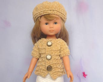 """Hand Knitted Short-Sleeve Sweater & Beret (Beige) for 13"""" Doll  (Les Cheries, Little Darling, Similar) - Ready to Ship"""
