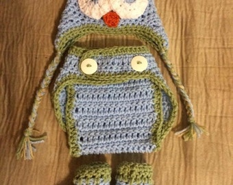 Owl hat, diaper cover and booties
