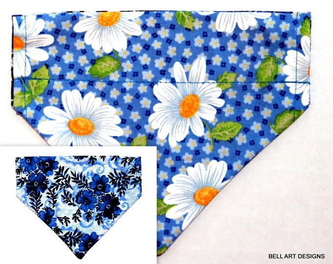 DAISY, DAISIES ~ Over the Collar ~ Reversible ~ Dog Pet Bandana ~ Bell Art Designs ~ Extra Small ~ DCXS0475