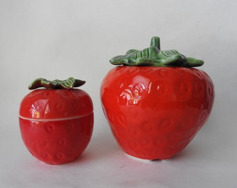 Ceramic Strawberry Kitchen Storage Jars