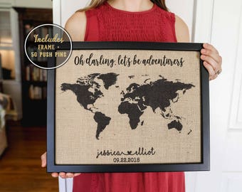 Push pin map etsy push pin map 2 year anniversary gift for boyfriend valentines day gift world map gumiabroncs Choice Image
