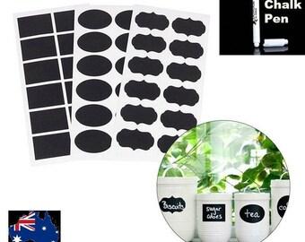 60  Blackboard Chalk Label Stickers & 1 Free Liquid Chalk Pen.