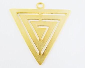 Large Fretwork Triangle Minimalist Geometric Pendant - 22k Matte Gold Plated - 1pc