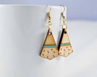 Dangled Confetti Earrings | Wood Etch Earrings | Wood Engraved Earrings | Dangling Wood Earrings