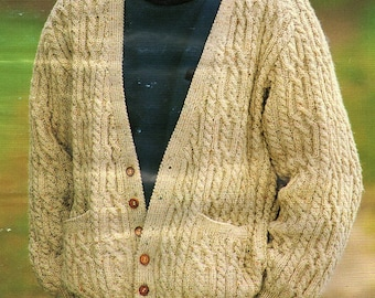 Mens Cable Cardigan, Knitting Pattern. PDF Instant Download.