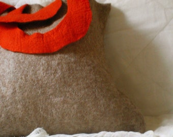 felted shopping bag -bread, oranges and apples-