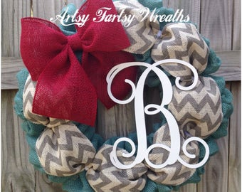 Monogram Burlap Wreath, Burlap Wreath, Monogram Wreath, Everyday Wreath, home decor, indoor decor, personalized front door wreath