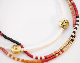 Colorful 'Tribal' Evil Eye Beaded Wrap Bracelet Δ Ethnic Bracelet Δ Southwest Bracelet Δ Aztec Jewelry Δ Boho Bracelet Δ Friendship Bracelet