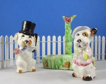 Dog Salt and Pepper Shakers Vintage Anthropomorphic Japan Collectibles