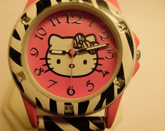 Zebra Striped Hello Kitty Quartz Wrist Watch