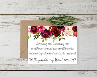 Floral Bridal Party Proposals Card // Bridesmaid Proposal // Digital Download // Printable // Instant Download