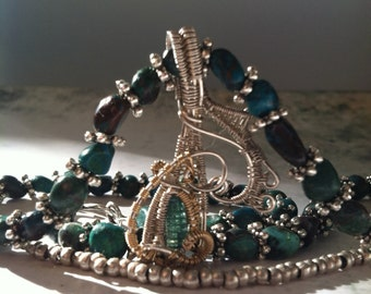 Wire wrapped Tourmaline with turquoise and silver necklace