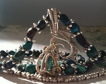 Draht mit Türkis und Silber Halskette Turmalin umwickelt