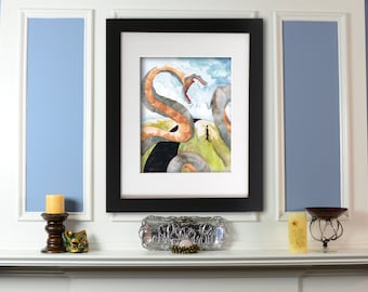 Giclee Print: Sandworm Watercolor Painting