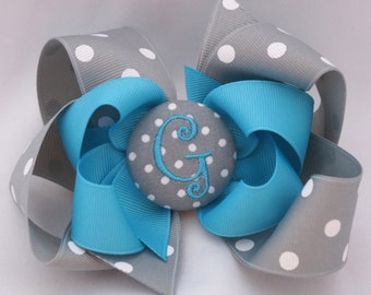 Silver Lining Monogrammed Button Hair Bow
