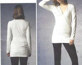 Donna Karan Womens Wrap Knit Tunic and Slim Pants OOP Vogue Sewing Pattern V1378 Size 12 14 16 18 20 Bust 34 to 42 UnCut Sewing Patterns