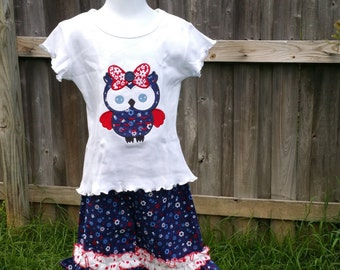 Patriotic owl Fourth of July tee shirt with ruffled red, white, and blue capris