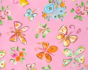 SALE - Tiddlywinks - Butterflies Pink by Dena Designs from Free Spirit