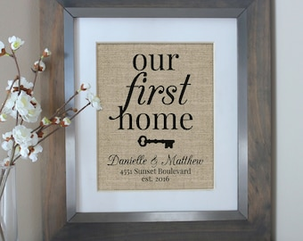 Our First Home | New Home Housewarming Gift | Burlap Print | House Warming Gift | Personalized Address Sign | New Home Gift | New Homeowner