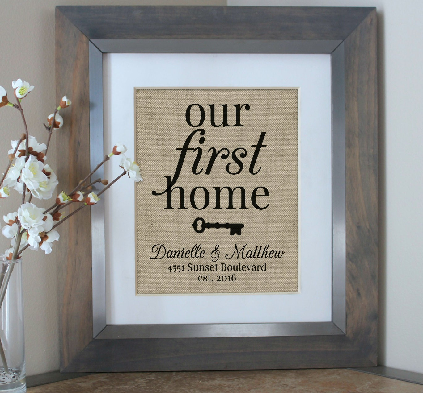 Personalised Home Is Where New Home Gift Print By: Our First Home New Home Housewarming Gift Burlap Print