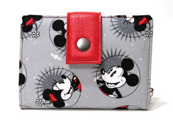 Small and slim wallet - Smiley Minnie and Mickey - ID clear pocket - handmade women bi fold wallet - ready to ship - gift ideas for her