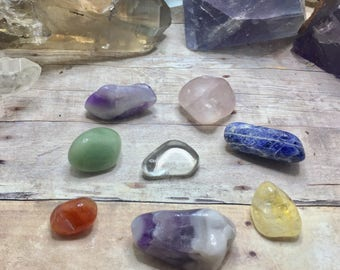 Chakra healing crystals chakra Stone Set 7 Chakra Stone Set tumbled Stones Chakra Gemstones Set Reiki Healing stones chakra crystals