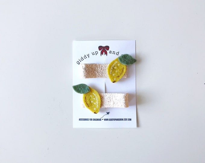 Lemon Hair Clip Set Glitter Summer Fruit Giddyupandgrow