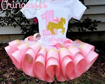 Carousel Horse Ribbon Tutu Set Pink and Gold