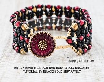 Bead Pack BB128 for Rad Ruby O'Duo Bracelet, Tutorial by Ellad2 Sold Separately, BB-128 Rad Ruby O'Duo Bracelet Bead Pack