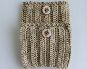 Boot Cuffs, Hand Crochet, with Handmade Button, - 4 dollars off without button