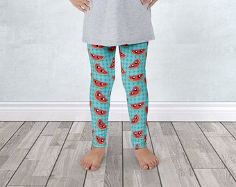 Watermelon Kids Leggings - Smiling Red Watermelon Slices Turquoise Seeds Pattern - for 1 to 7 years old - Made to Order