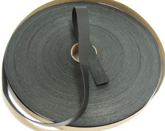 "3/4"" Flat Genuine Cowhide Leather Strap in Kasur Black High Shine Charcoal Slate (5 YDS) 0750NCH"