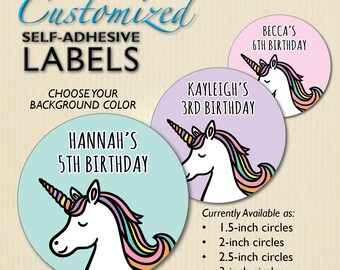 Unicorn Stickers, Pastel Colors, Birthday Favor Label, for Treat Bag, Candy Buffet Box, Jars, Cups, Party Decor, Customized, Personalized