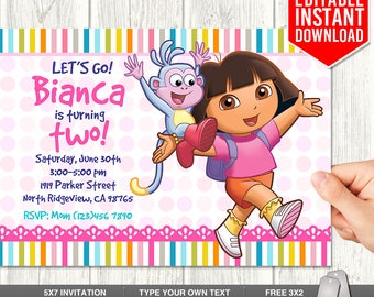 Dora invitations etsy dora explorer invitation download dora invitations dora birthday invitation editable dora invites dora pdf template instant download filmwisefo