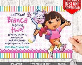 Dora Explorer Invitation Download, Dora Invitations, Dora Birthday Invitation, Editable Dora Invites, Dora PDF Template, Instant Download