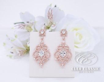 Wedding Earrings Bridal Earrings Bridesmaid Gifts Crystal Zircon Dangle Earrings Bridesmaid Earrings Rose Gold Earrings