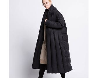 Womens Winter Loose Fitting Thicken Cupro Cape Warm Down Coat Jacket With Pockets, Casual Down Coat, Long Down Coat, Winter Coat For Women