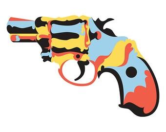 Snub Nose Gun. Cross Stitch pattern, Digital Download PDF. Geometric design of a hand gun. Modern in design.